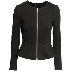 H&M Peplum jacket ($38) via Polyvore featuring outerwear, jackets, black, zip jacket, h&m, zipper jacket, black peplum jacket and black jacket