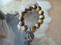 TigerEye Large Bead Bracelet with Vintage Charm by ElliTs on Etsy