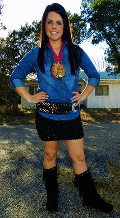 #ItsACowgirlThing Black Cowgirl Sequined Skirt