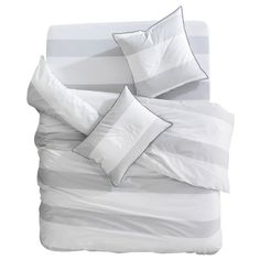 Breakwater Bay This cozy Duvet Cover Set is perfect for sleeping as it offers a comfortable and breathable design with a stylish look. Interior Styling, Interior Design, Quilt Sets, Comforter Sets, Bedding, Duvet Cover Sets, Grey Stripes, Decoration, Soho