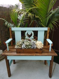 SOLD - Garden Bench using Old Chair Remnants in Tiffany Blue.