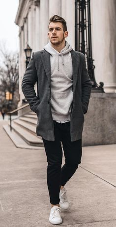 Grey Hoodie with Charcoal Overcoat Outfit for Men men outfit 20 Cool Overcoats To Keep You Hot This Winter Season! Stylish Mens Outfits, Casual Winter Outfits, Men Casual, Fall Outfits, Grey Overcoat, Mens Overcoat, Hoodie Outfit, Blazer Outfits Men, Mode Outfits