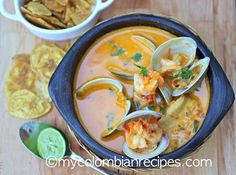 Cazuela de Mariscos (Seafood Stew) Colombia is bordered by the Atlantic and the Pacific Oceans, which provides the country with great seafood. This delicious creamy Cazuela de Mariscos is quick My Colombian Recipes, Colombian Cuisine, Cuban Recipes, Seafood Recipes, Soup Recipes, Cooking Recipes, Seafood Dishes, Seafood Stew, Recipes