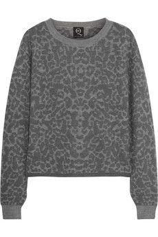 McQ Alexander McQueen Leopard-intarsia stretch-knit sweater | NET-A-PORTER