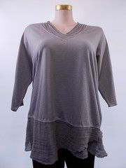 Fenini - Smoke Linen Mesh Contrast V-Neck Tunic -- I think I bought this this summer!! :)