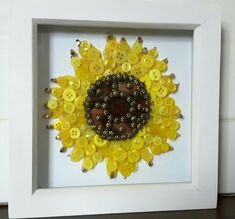 Reasons to Give Handmade Gifts – Gift Ideas Anywhere Diy Buttons, Vintage Buttons, Fun Crafts, Diy And Crafts, Arts And Crafts, Yellow Crafts, Button Cards, Button Button, Sunflower Cards