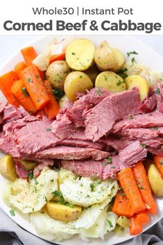 Instant Pot Corned Beef and Cabbage. Instant Pot Corned Beef and Cabbage a quick and delicious Paleo and Gluten Free dinner for the whole family! I serve it with baby p Cabbage And Potatoes, Beef And Potatoes, Corn Beef And Cabbage, Cabbage Recipes, Baby Potatoes, Corned Beef Recipes, Corned Beef Brisket, Bon Dessert, Whole 30 Recipes