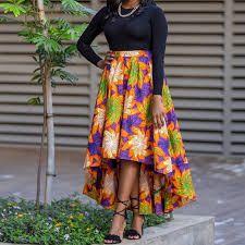 Maduo a ditshwantsho a african print high low skirts
