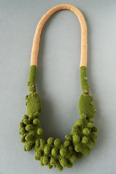 Crochet necklace ( cotton, fabric, glass beads). 2013 Textile Jewelry, Fabric Jewelry, Handmade Necklaces, Handmade Jewelry, Weird Jewelry, Knitted Necklace, Fibre And Fabric, Freeform Crochet, Crochet Cord