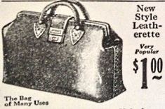 1920s shopping or traveling luggage- For larger errands a travel bag similar to Victorian carpet bags or medicine bags opened up and held quite a bit. Travelers used these as luggage. The design were rather simple and non gender specific. They came in all leather, upholstery and even rubber.