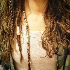 """Wraps, braids, dreads and crystals!  #petdreads #fairylocks. #partialdreads"""
