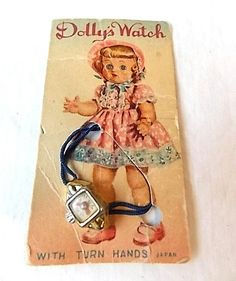 Vintage Dolly's Watch Miniature Toy Doll Watch on Original Card, 1950s