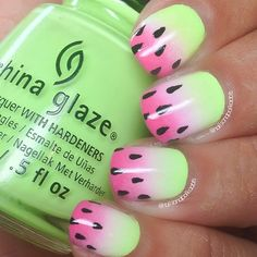 Neon Gradient Pink and Green Watermelon Inspired Nails.