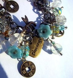 Pentacle and clear quartz charm bracelet. BriarsWickedWishes - Craft Cafe