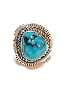 Sterling Silver & Turquoise Ring Navajo Turquoise Ring