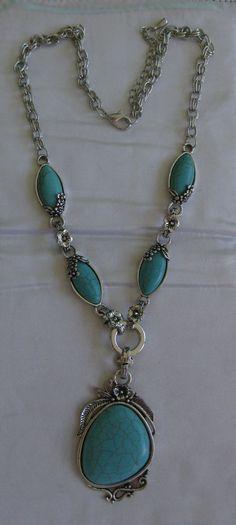 "Exquisite Antique Silver Tibet Genuine Turquoise 22"" NecklaceWith 3.5 Extender #Pendant"