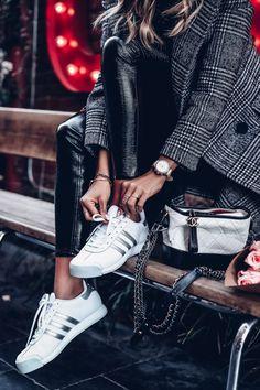 Sneakers + tweed coat outfit