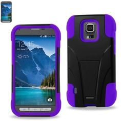 Reiko Silicon Case+Protector Cover Samsung Galaxy S5 Active Sm-G87 New Type Kickstand Purple Black