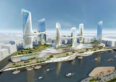 UNStudio have designed a concept for Tonghzou Central Business District in Beijing featuring six linked skyscrapers.