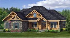 House Plan 90667 | Country Craftsman Ranch Plan with 2233 Sq. Ft., 4 Bedrooms, 3 Bathrooms, 2 Car Garage
