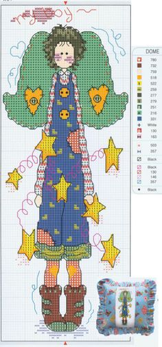 *if the green parts are wings, I would remove them as they aren't placed in correct area. In design they appear to come from her head. Cross Stitch Fairy, Cross Stitch Angels, Xmas Cross Stitch, Cross Stitch Needles, Cross Stitch Charts, Cross Stitch Designs, Cross Stitching, Cross Stitch Embroidery, Cross Stitch Patterns