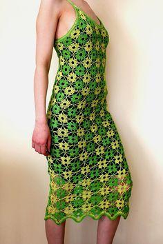Crochet dress Green Yellow dress Women dress in green by linzes, $200.00