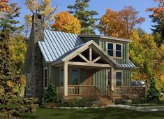 This Cottage house plan has 3 bedrooms, 2 bathrooms, and a garage. This home plan is featured in the Bungalow, 3 Bedroom House Plans and Vacation Home Plans collections. Cabin House Plans, Small House Plans, Tiny Cabin Plans, Small House Kitchen Ideas, Rustic House Plans, Cabin Homes, Cottage Homes, Style At Home, Cottage Plan