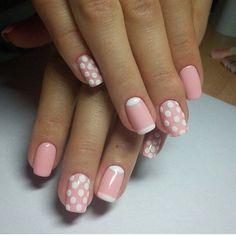 Beautiful nails 2016, Gentle summer nails, Manicure by summer dress, Nails ideas 2016, Pink dress nails, Pink nails, Polka dot nails, Shellac nails 2016 Nail Design, Nail Art, Nail Salon, Irvine, Newport Beach