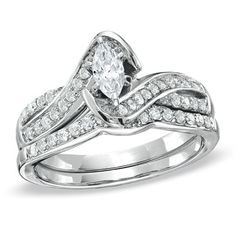 5/8 CT. T.W. Marquise Diamond Twine Bridal Set in 14K White Gold - Zales  *love this style and frame. The center stone should be bigger, though.