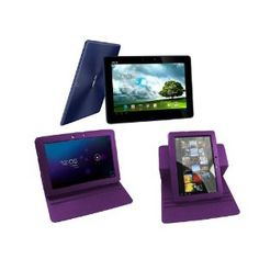 Navitech Genuine PURPLE Bycast Leather Flip Open Carry Case : Cover With Adjustable Stand for the Asus Transformer Pad TF300