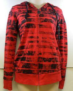 Abbey Dawn Hoodie M Jacket Avril Lavigne 2009 Skull Zip Red Black EMO Juniors #AbbeyDawn #Hoodie
