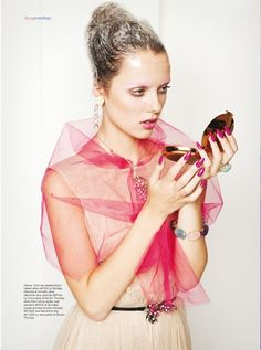 pink tulle shawl