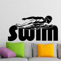 Swim Sticker Logo Name Swimmer Decal Swimming Posters Vinyl Wall Decals Pegatina Quadro Parede Decor Mural Swim Sticker