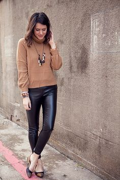 Leather leggins and brown.