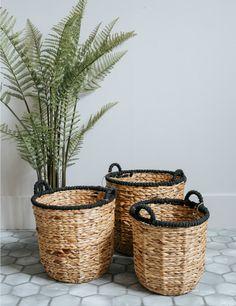 Black Rim Wicker Basket at Rose & Grey