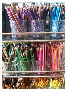Creative Workspace That looks like the start of a lot of fun to me! (Creative Workspace: Floating Lemons)That looks like the start of a lot of fun to me! Art Supplies Storage, Art Storage, Craft Room Storage, Craft Rooms, Colored Pencil Storage, Image Crayon, Pencil Organizer, Art Studio Organization, My Art Studio