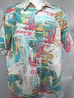 Mens Novelty Shirt  Miami Beaches Hotels Silk Blend Button Front Small