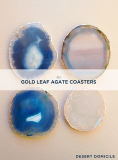 DIY Gold Leaf Agate Coasters - Great gift for the hostess on your list!