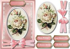 Lovely Cream rose on a oval plaque  on Craftsuprint - Add To Basket!