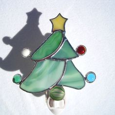Christmas Tree Stained Glass Night Light by hobbymakers on Etsy, $21.00