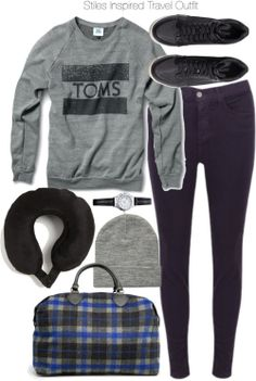 TOMS pocket shirt / J Brand j-brand skinny jeans, $320 / H&M rubber sole wedge shoes, $49 / Mango zip top tote / Black watch / Asos beanie / T-Tech by TUMI Memory Foam Neck Pillow Black One Size