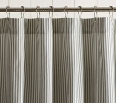 Ticking Stripe Ruffle Shower Curtain | Pottery Barn