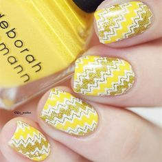 "Fantastic Yellow Chevron Stamping Mani By @glju_nailzz Stamping Plate BP-L003(#17921)&White BP Stamping Polish(#22323)from www.bornprettystore.com . Use code ""BPSQ10"" to enjoy 10% Off for your order. #bornprettystore#bpsnailart#stampingnails#stampingplate#bornpretty#yellow#chevron"