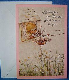Vintage-Mary-Hamilton-Greeting-Card-Flower-Bouquet-Bird-Get-Well-Hallmark-Unused