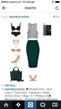 Grey crop top. Grass green pencil skirt. Nude heels