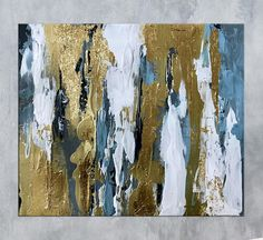 Gold Leaf Wall Art Modern Abstract art Painting on Canvas