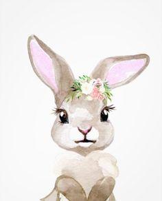 Bunny Nursery, Nursery Art, Girl Nursery, Girls Bedroom, Cute Animal Drawings, Cute Drawings, Easter Paintings, Bunny Painting, Baby Room Art