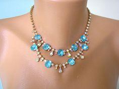 TURQUOISE Rhinestone Necklace Great Gatsby Art Deco Wedding Necklace Turquoise Diamante Choker Teal Choker Aqua Necklace Blue Jewelry