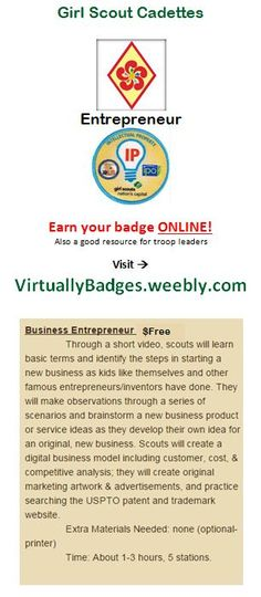 Entrepreneur Girl Scout Cadette badge earned online!