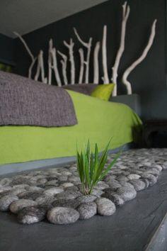 Filzsteinteppich supersoft Schafwolle grau von flussdesign auf Etsy